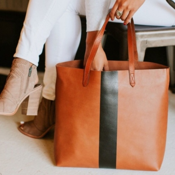 huge discount release date: latest collection NEW Madewell Paint Stripe Transport Leather Tote NWT